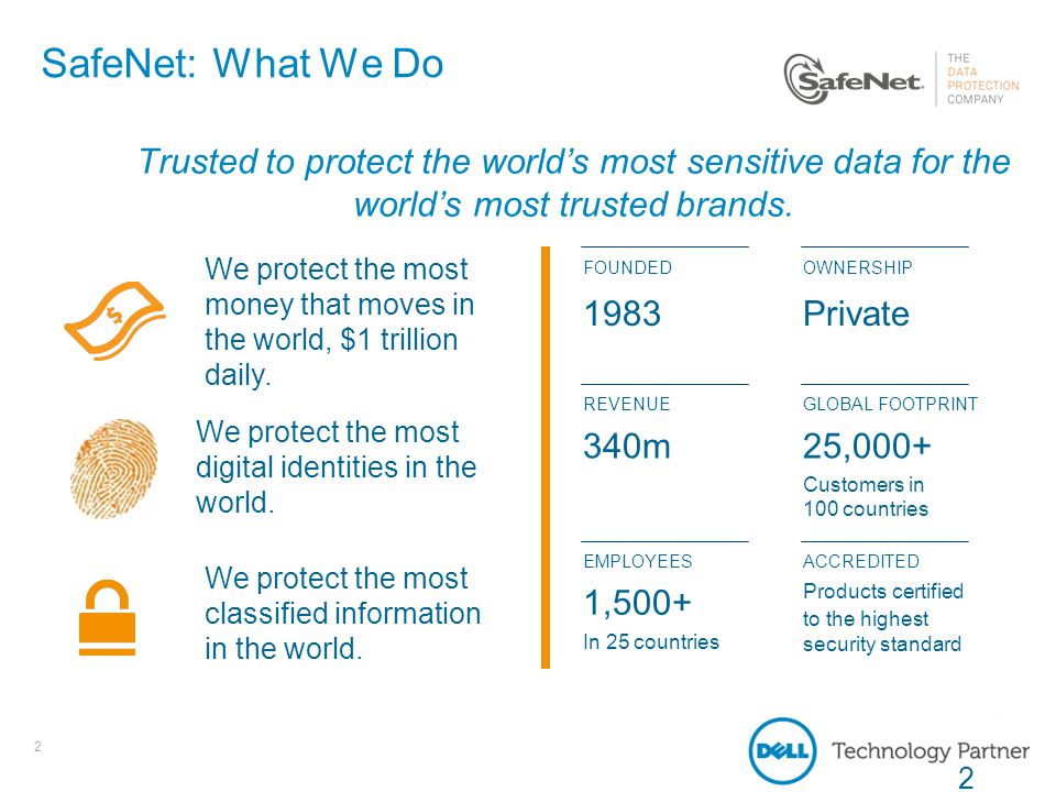 2 SafeNet: What We Do Trusted to protect the world's most sensitive data for the world's most trusted brands. We protect the most money that moves in