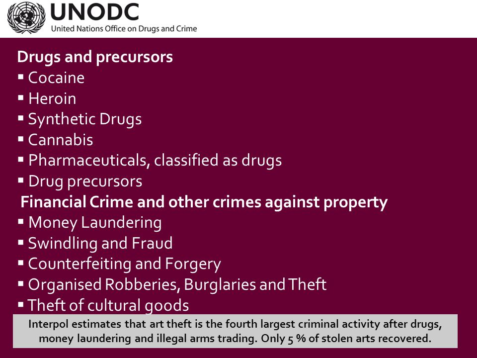 TOC  Traditional forms of TOC  Heroine and cocaine trafficking  Extortion  Human trafficking  Migrant smuggling  Firearms trafficking  Money laundering  (Re-)emerging forms of TOC  Trafficking in fraudulent medicine  Natural resource trafficking Global environmental crime, worth up to USD 213 billion each year according to the United Nations Environment Programme (UNEP) and INTERPOL.