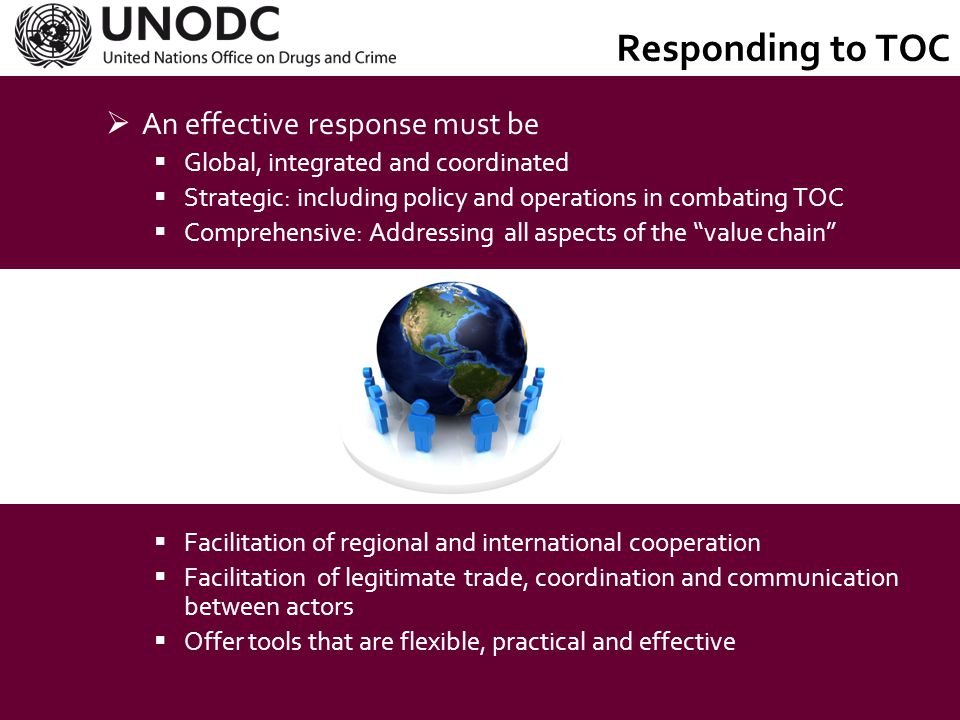 UNODC Objectives  To assist the UN in issues of:  illicit trafficking in and abuse of drugs;  crime prevention and criminal justice;  international terrorism;  corruption.