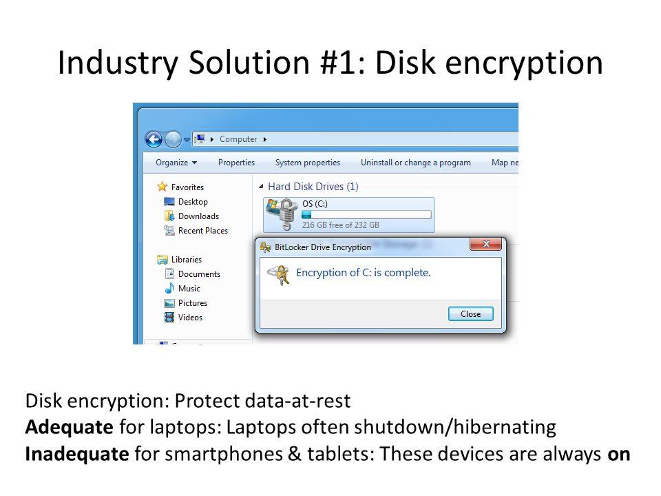Industry Solution #2: PIN-unlock Problem: Unencrypted data still resides in RAM!