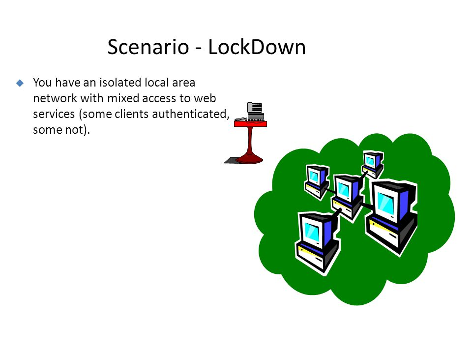 Scenario - LockDown  You have an isolated local area network with mixed access to web services (some clients authenticated, some not).