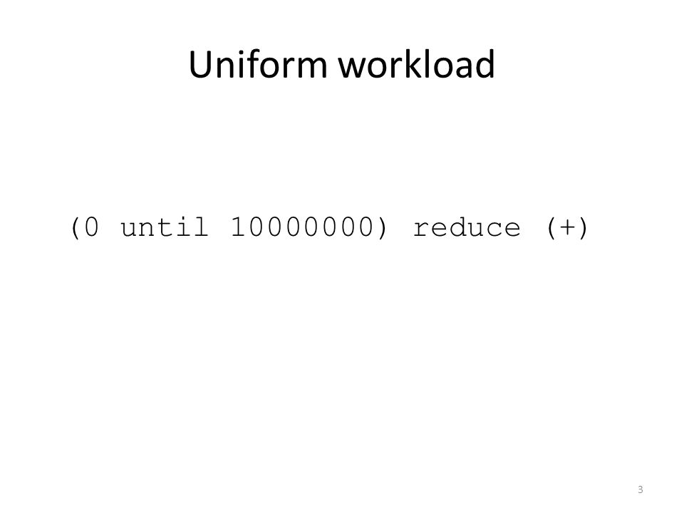 Uniform workload (0 until 10000000) reduce (+) 3