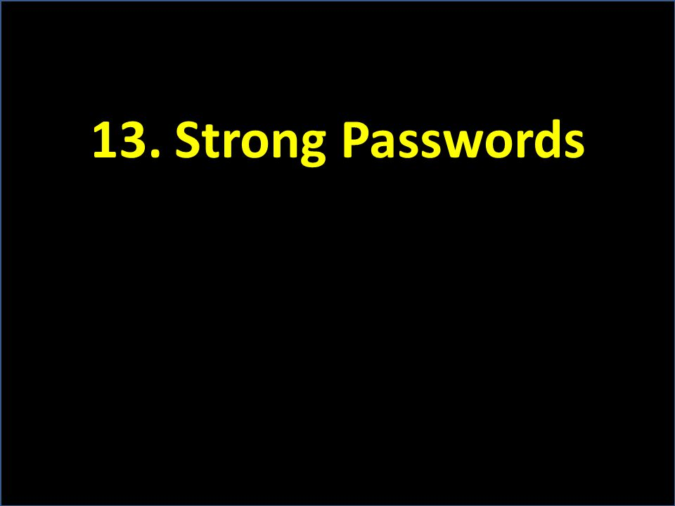 13. Strong Passwords