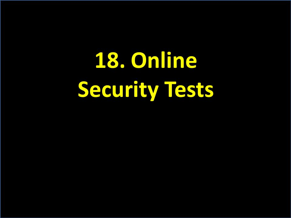 18. Online Security Tests