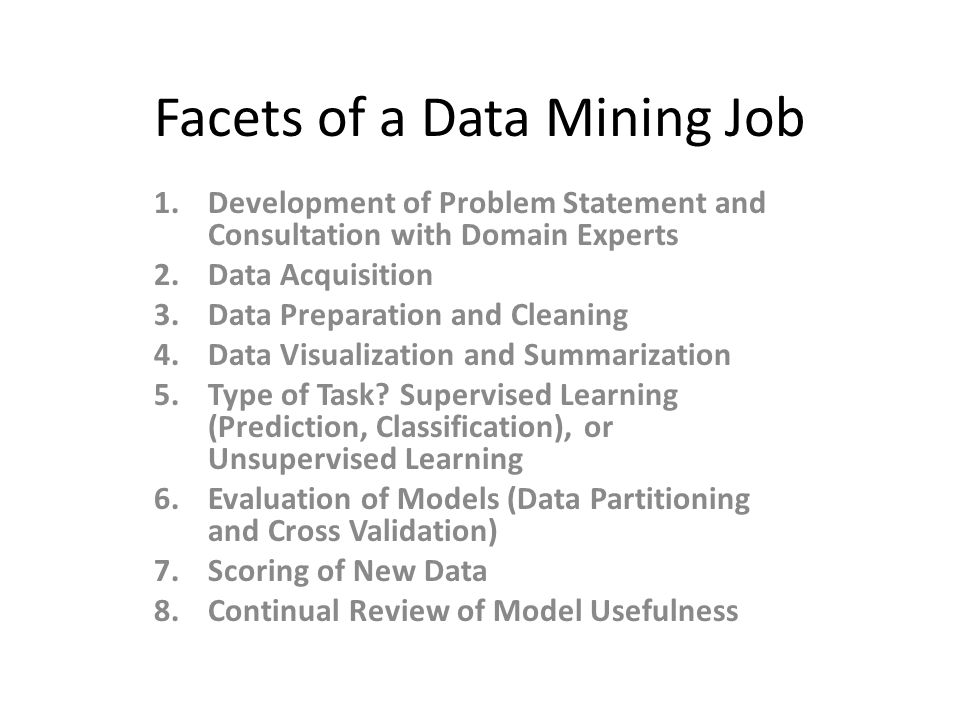 Facets of a Data Mining Job 1.Development of Problem Statement and Consultation with Domain Experts 2.Data Acquisition 3.Data Preparation and Cleaning 4.Data Visualization and Summarization 5.Type of Task.