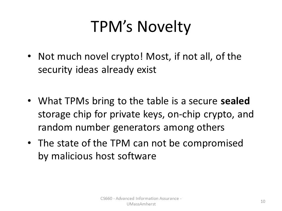 TPM's Novelty Not much novel crypto.