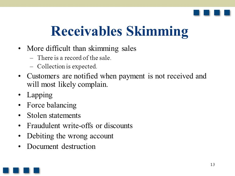 13 Receivables Skimming More difficult than skimming sales –There is a record of the sale. –Collection is expected. Customers are notified when paymen