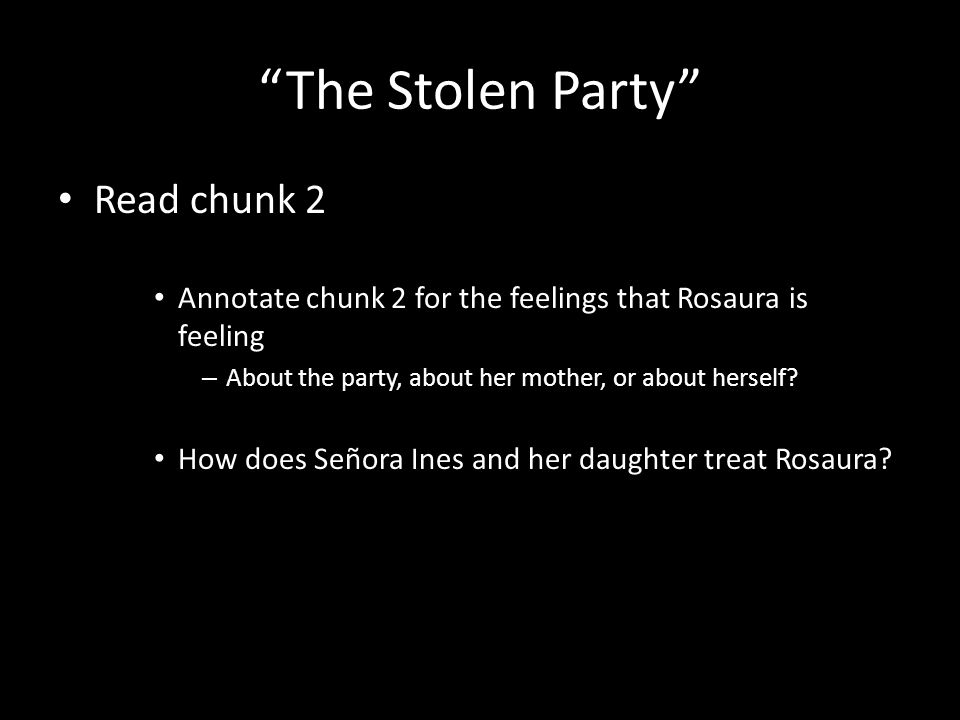 """The Stolen Party"" Read chunk 2 Annotate chunk 2 for the feelings that Rosaura is feeling – About the party, about her mother, or about herself? How d"