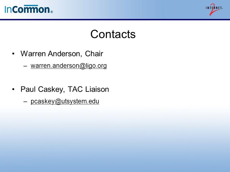 Contacts Warren Anderson, Chair –warren.anderson@ligo.orgwarren.anderson@ligo.org Paul Caskey, TAC Liaison –pcaskey@utsystem.edupcaskey@utsystem.edu