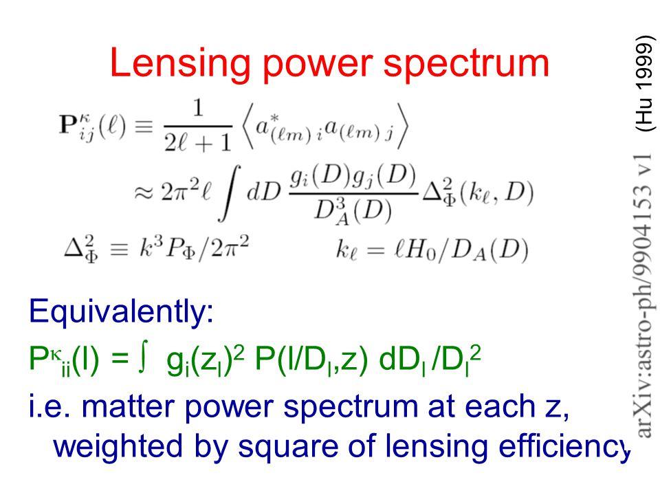 Lensing power spectrum Equivalently: P  ii (l) = ∫ g i (z l ) 2 P(l/D l,z) dD l /D l 2 i.e.