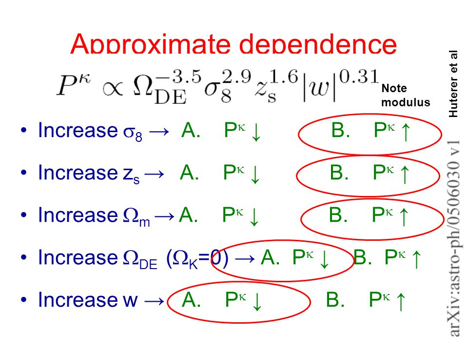 Approximate dependence Increase  8 → A. P  ↓ B.