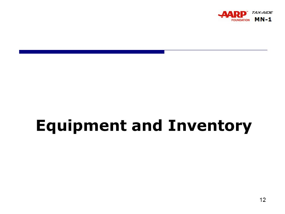 12 Equipment and Inventory