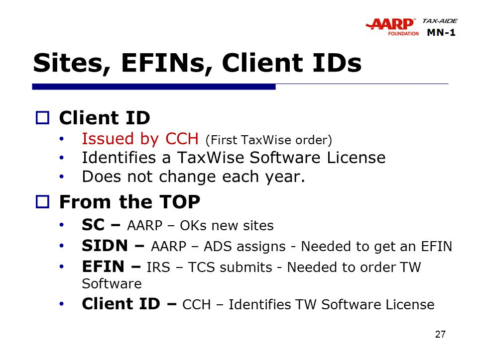 27 Sites, EFINs, Client IDs  Client ID Issued by CCH (First TaxWise order) Identifies a TaxWise Software License Does not change each year.