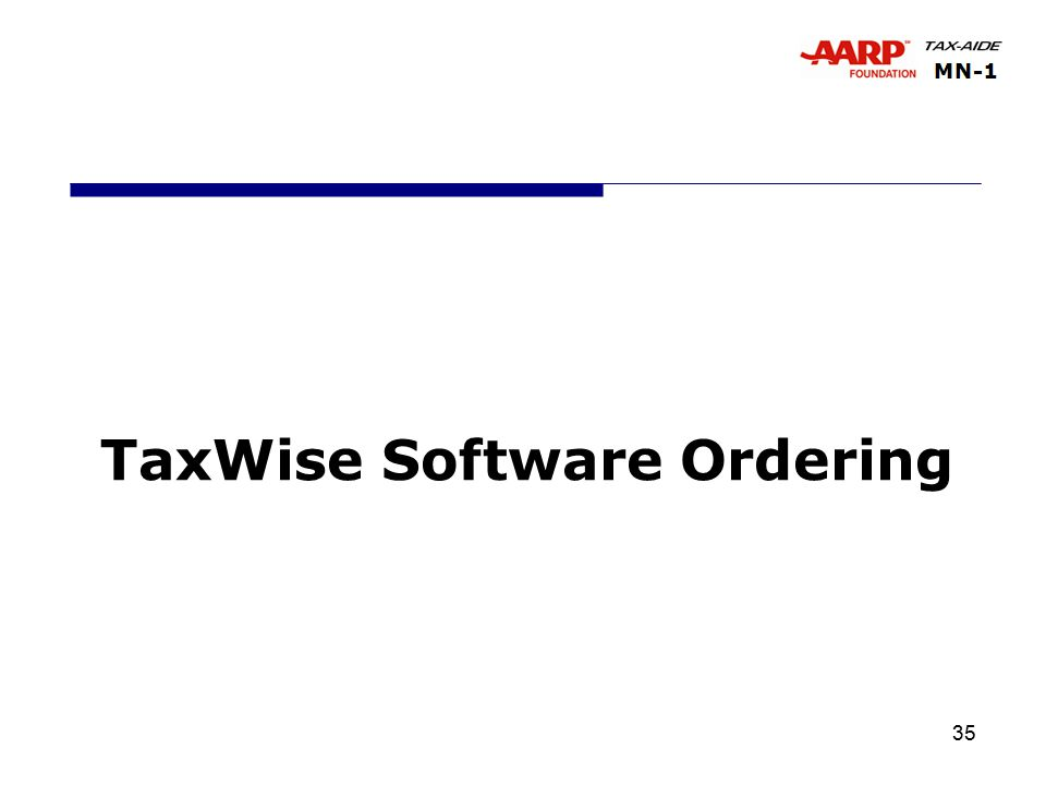 35 TaxWise Software Ordering