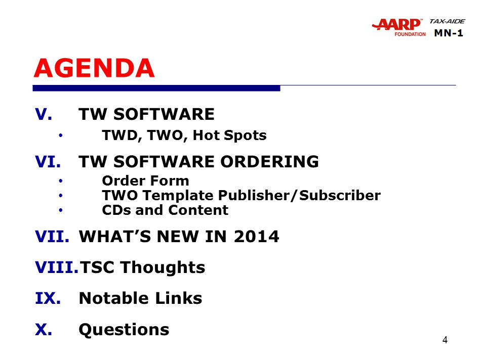 4 AGENDA V.TW SOFTWARE TWD, TWO, Hot Spots VI.TW SOFTWARE ORDERING Order Form TWO Template Publisher/Subscriber CDs and Content VII.WHAT'S NEW IN 2014 VIII.TSC Thoughts IX.Notable Links X.Questions