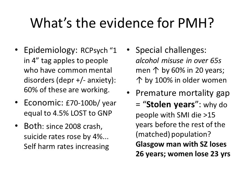 What's the evidence for PMH.