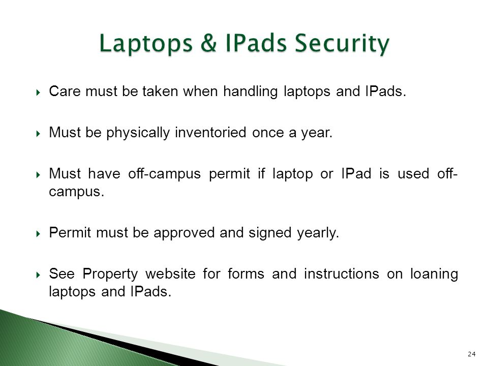  Care must be taken when handling laptops and IPads.