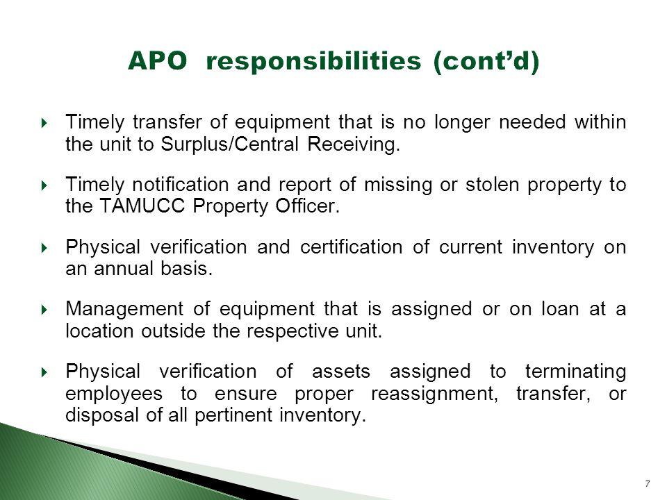  Control of equipment. Responsible departmental property contact.