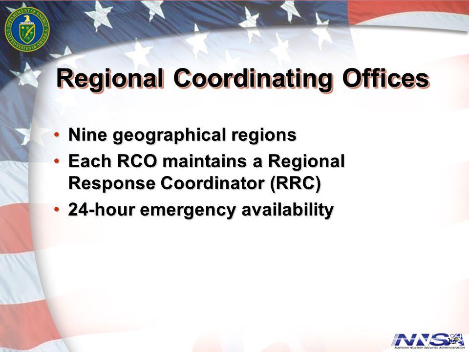 Regional Coordinating Offices Nine geographical regionsNine geographical regions Each RCO maintains a Regional Response Coordinator (RRC)Each RCO main