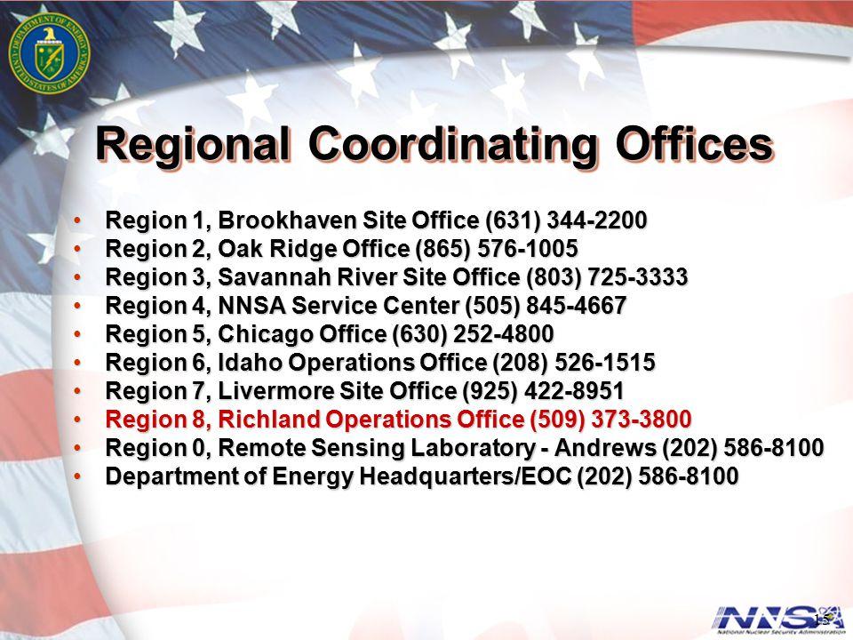 Regional Coordinating Offices Region 1, Brookhaven Site Office (631) 344-2200Region 1, Brookhaven Site Office (631) 344-2200 Region 2, Oak Ridge Offic