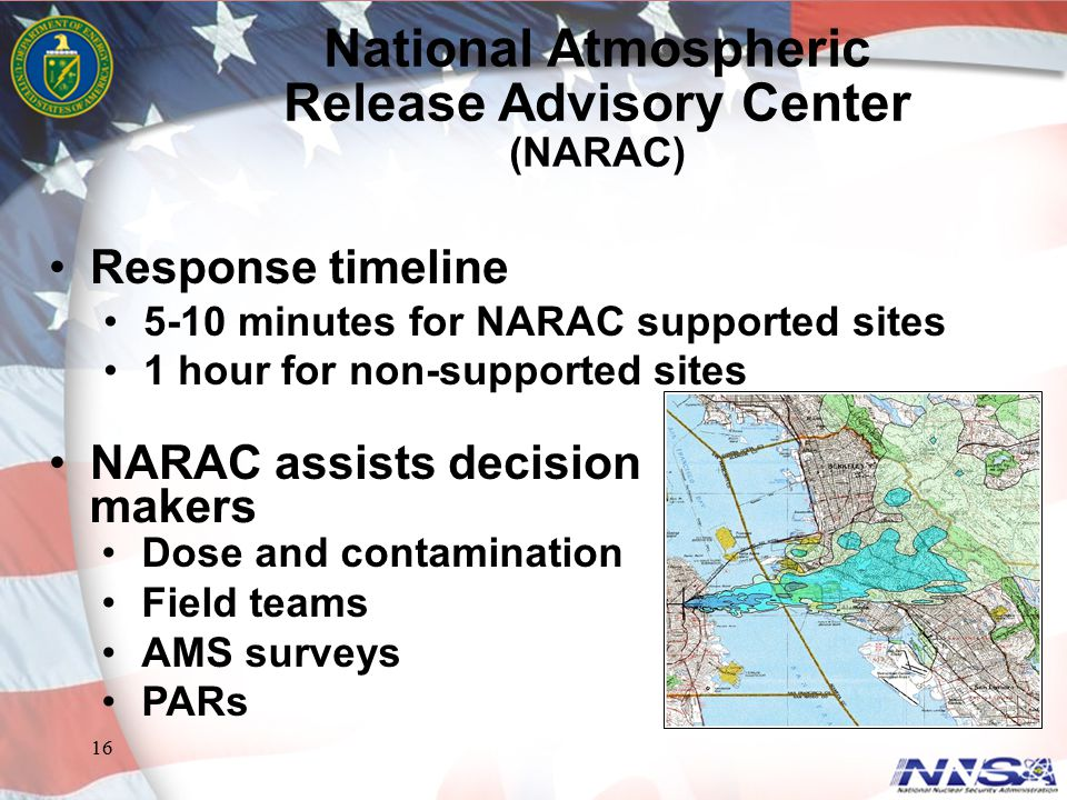 16 Response timeline 5-10 minutes for NARAC supported sites 1 hour for non-supported sites NARAC assists decision National Atmospheric Release Advisor