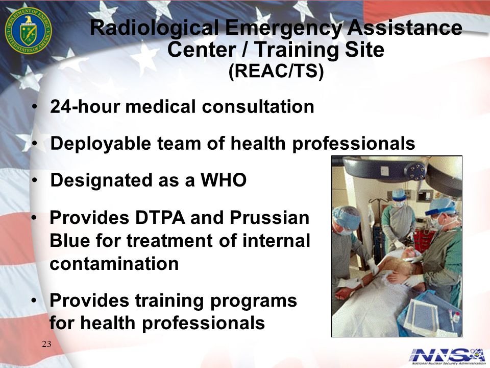 23 24-hour medical consultation Deployable team of health professionals Designated as a WHO Radiological Emergency Assistance Center / Training Site (