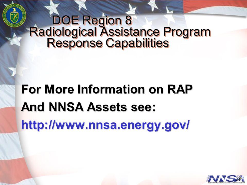 DOE Region 8 Radiological Assistance Program Response Capabilities DOE Region 8 Radiological Assistance Program Response Capabilities For More Informa