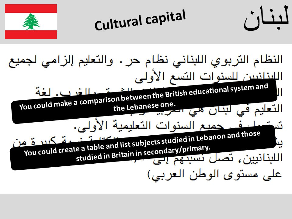 لبنان You could make a comparison between the British educational system and the Lebanese one.