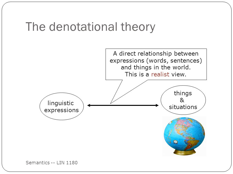 The denotational theory Semantics -- LIN 1180 linguistic expressions things & situations A direct relationship between expressions (words, sentences) and things in the world.