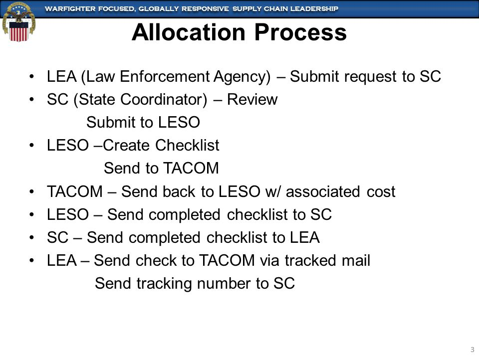 WARFIGHTER FOCUSED, GLOBALLY RESPONSIVE SUPPLY CHAIN LEADERSHIP 3 3 LEA (Law Enforcement Agency) – Submit request to SC SC (State Coordinator) – Review Submit to LESO LESO –Create Checklist Send to TACOM TACOM – Send back to LESO w/ associated cost LESO – Send completed checklist to SC SC – Send completed checklist to LEA LEA – Send check to TACOM via tracked mail Send tracking number to SC Allocation Process