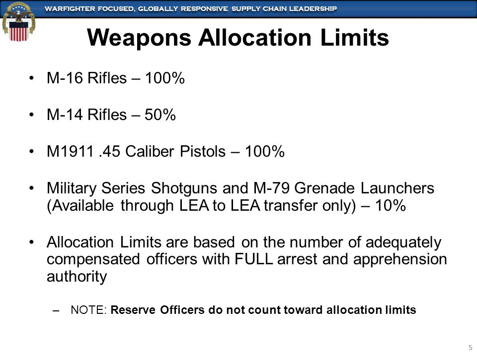WARFIGHTER FOCUSED, GLOBALLY RESPONSIVE SUPPLY CHAIN LEADERSHIP 5 5 Weapons Allocation Limits M-16 Rifles – 100% M-14 Rifles – 50% M1911.45 Caliber Pi
