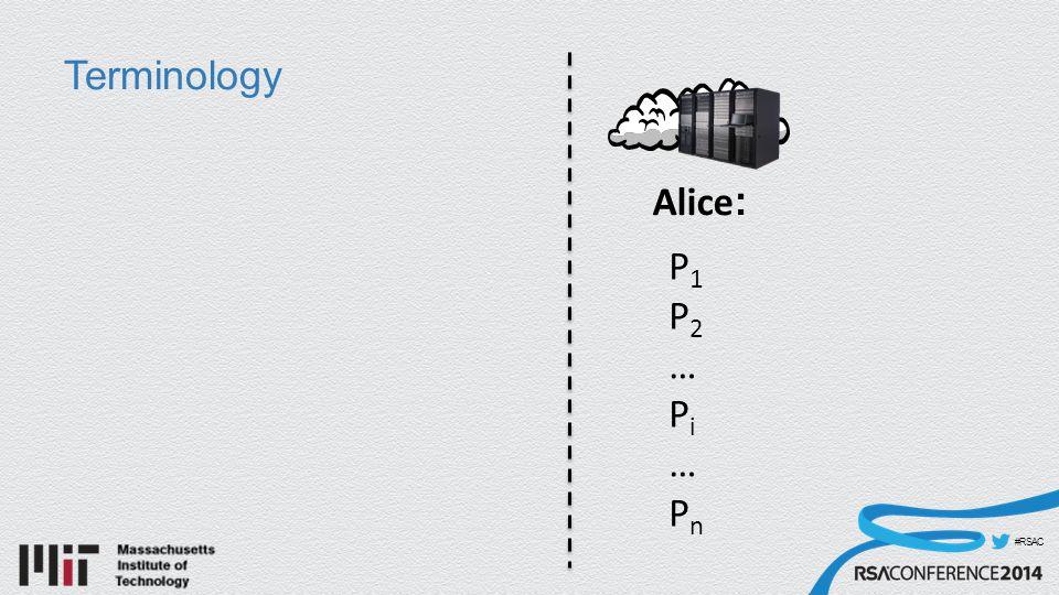 #RSAC Terminology Alice : P1P2…Pi…PnP1P2…Pi…Pn