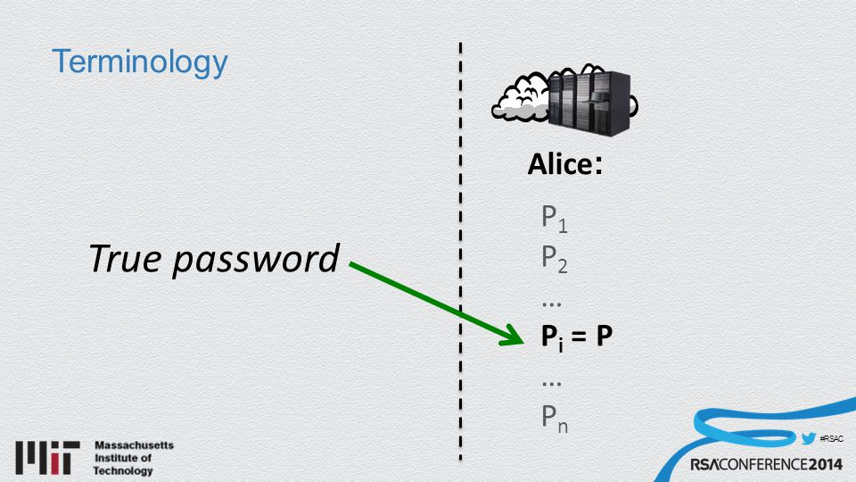 #RSAC Terminology Alice : P 1 P 2 … P i = P … P n True password