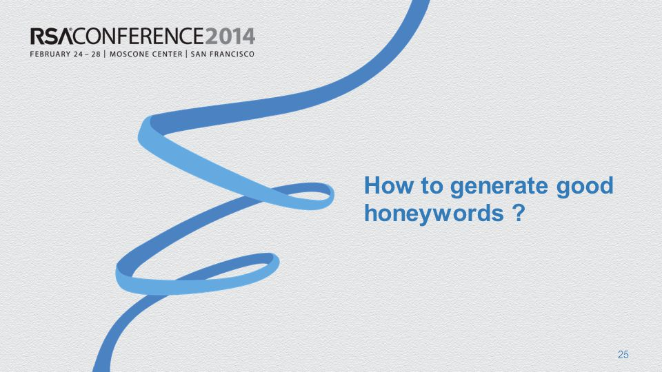 How to generate good honeywords 25