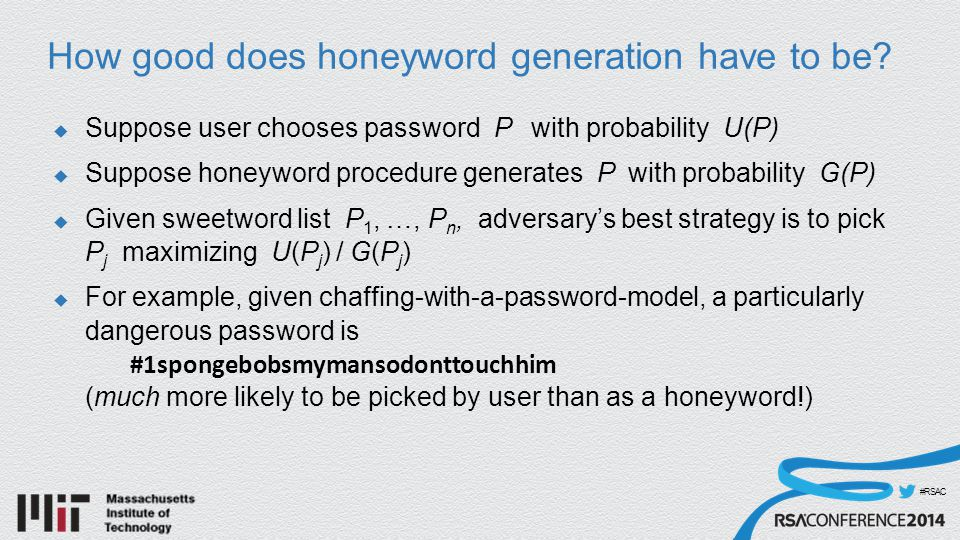 #RSAC How good does honeyword generation have to be.