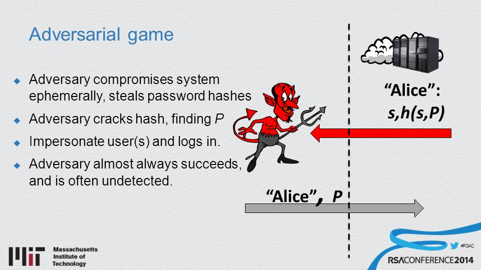 #RSAC Adversarial game  Adversary compromises system ephemerally, steals password hashes  Adversary cracks hash, finding P  Impersonate user(s) and logs in.