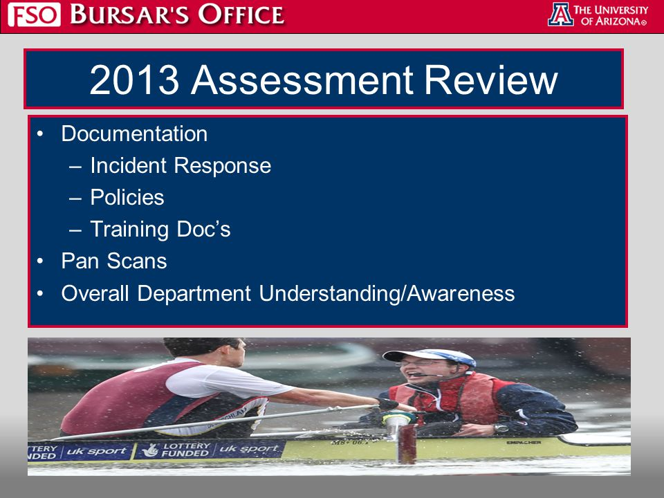 2013 Assessment Review Documentation –Incident Response –Policies –Training Doc's Pan Scans Overall Department Understanding/Awareness