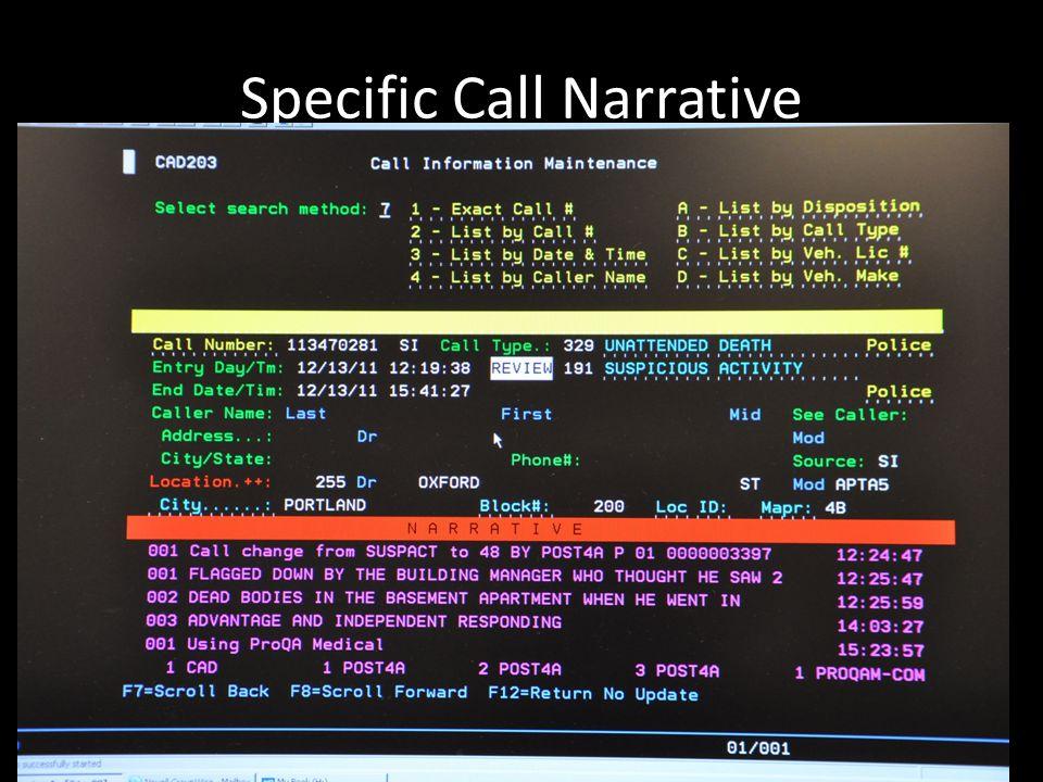 Specific Call Narrative