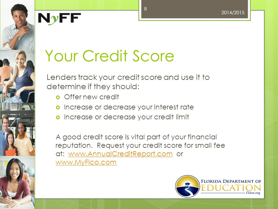 Your Credit Score Lenders track your credit score and use it to determine if they should:  Offer new credit  Increase or decrease your interest rate  Increase or decrease your credit limit A good credit score is vital part of your financial reputation.