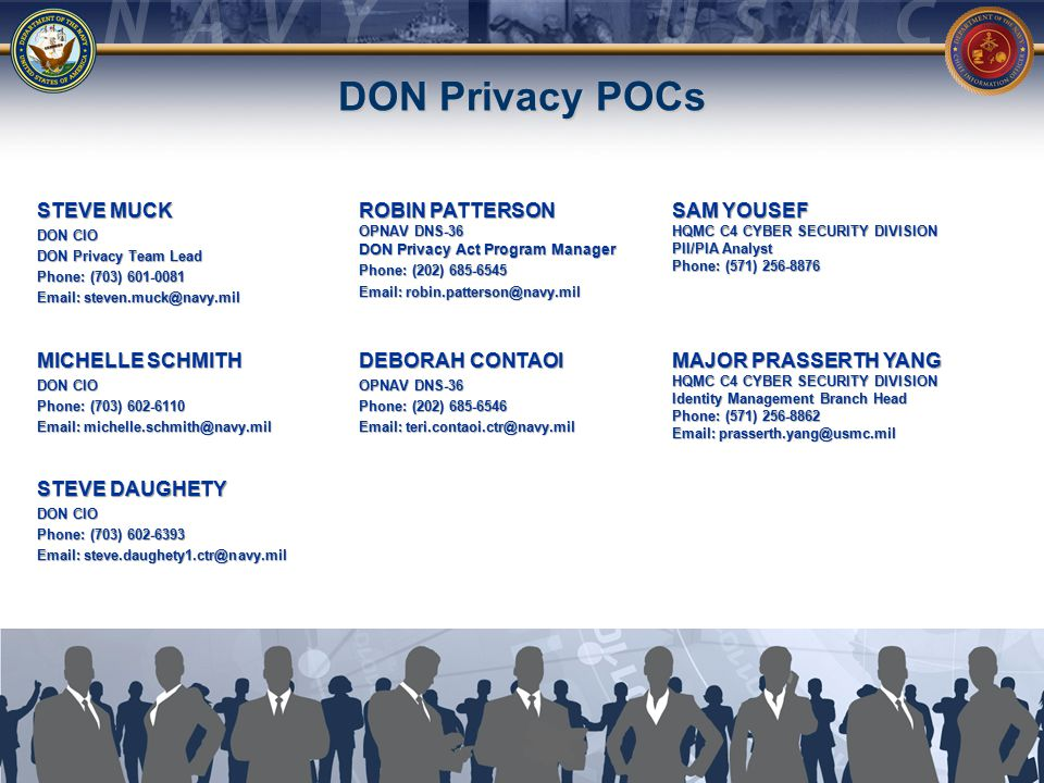 30 DON Privacy POCs STEVE MUCK DON CIO DON Privacy Team Lead Phone: (703) 601-0081 Email: steven.muck@navy.mil MICHELLE SCHMITH DON CIO Phone: (703) 602-6110 Email: michelle.schmith@navy.mil STEVE DAUGHETY DON CIO Phone: (703) 602-6393 Email: steve.daughety1.ctr@navy.mil ROBIN PATTERSON OPNAV DNS-36 DON Privacy Act Program Manager Phone: (202) 685-6545 Email: robin.patterson@navy.mil DEBORAH CONTAOI OPNAV DNS-36 Phone: (202) 685-6546 Email: teri.contaoi.ctr@navy.mil MAJOR PRASSERTH YANG HQMC C4 CYBER SECURITY DIVISION Identity Management Branch Head Phone: (571) 256-8862 Email: prasserth.yang@usmc.mil SAM YOUSEF HQMC C4 CYBER SECURITY DIVISION PII/PIA Analyst Phone: (571) 256-8876