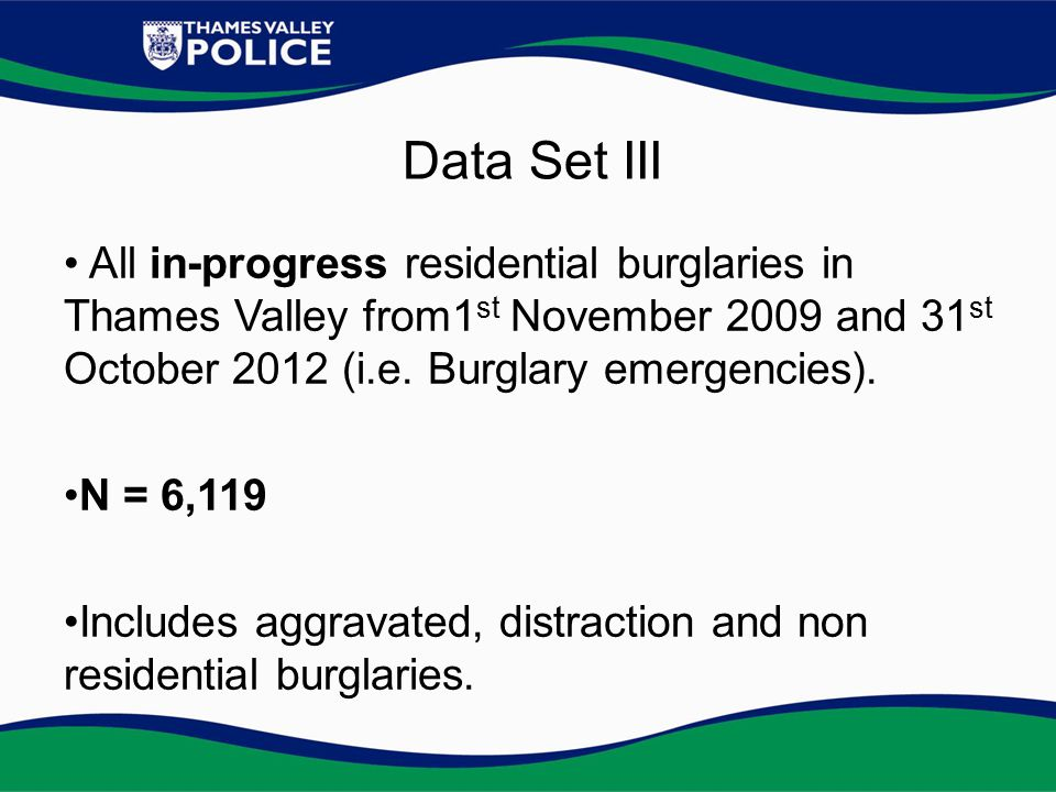 All in-progress residential burglaries in Thames Valley from1 st November 2009 and 31 st October 2012 (i.e.