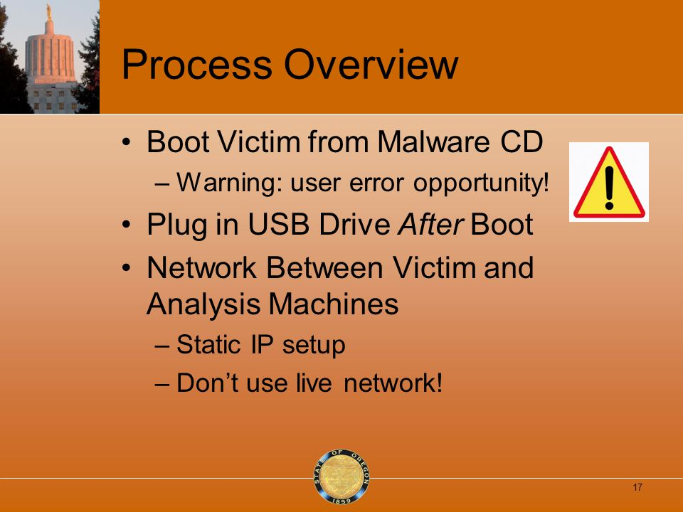 Process Overview Boot Victim from Malware CD –Warning: user error opportunity.
