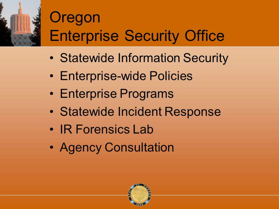 Oregon Enterprise Security Office Statewide Information Security Enterprise-wide Policies Enterprise Programs Statewide Incident Response IR Forensics Lab Agency Consultation