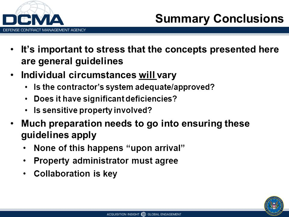 Summary Conclusions It's important to stress that the concepts presented here are general guidelines Individual circumstances will vary Is the contrac