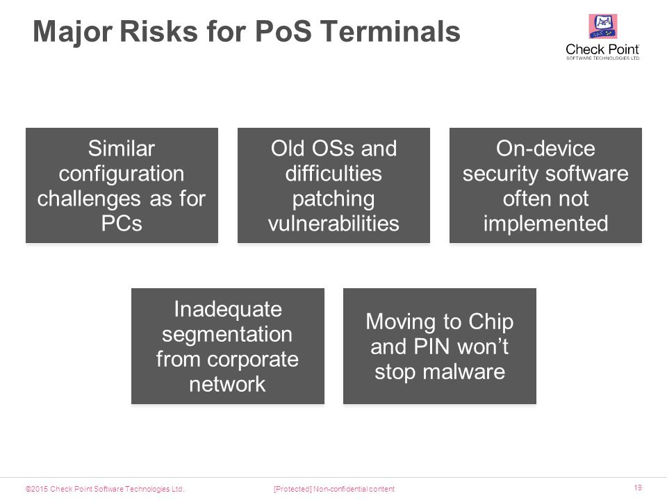 ©2015 Check Point Software Technologies Ltd. 19 Major Risks for PoS Terminals [Protected] Non-confidential content Similar configuration challenges as