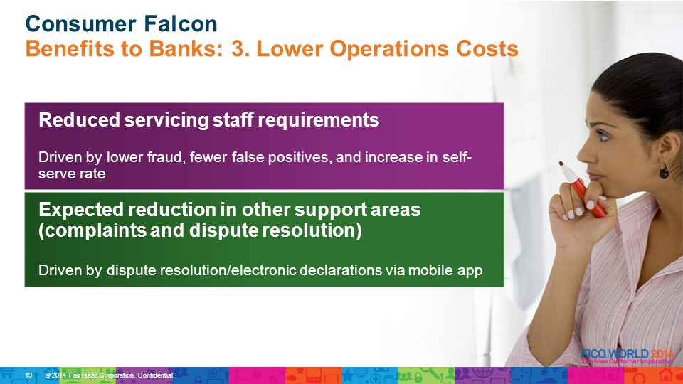© 2014 Fair Isaac Corporation. Confidential. Consumer Falcon Benefits to Banks: 3.