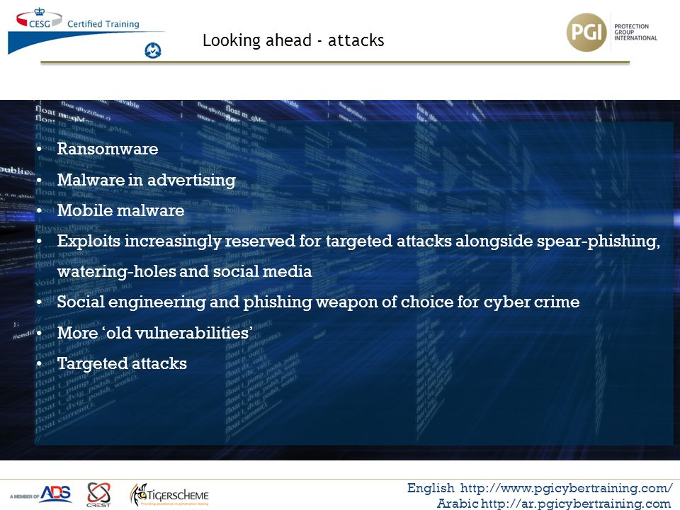 Looking ahead - attacks English http://www.pgicybertraining.com/ Arabic http://ar.pgicybertraining.com Ransomware Malware in advertising Mobile malwar