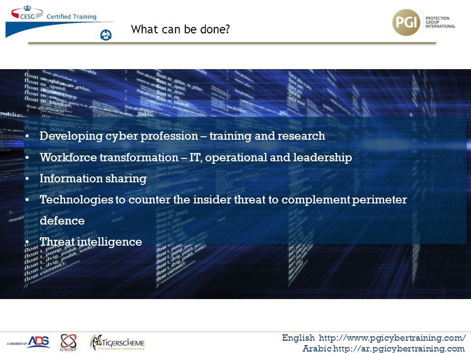 What can be done? English http://www.pgicybertraining.com/ Arabic http://ar.pgicybertraining.com Developing cyber profession – training and research W
