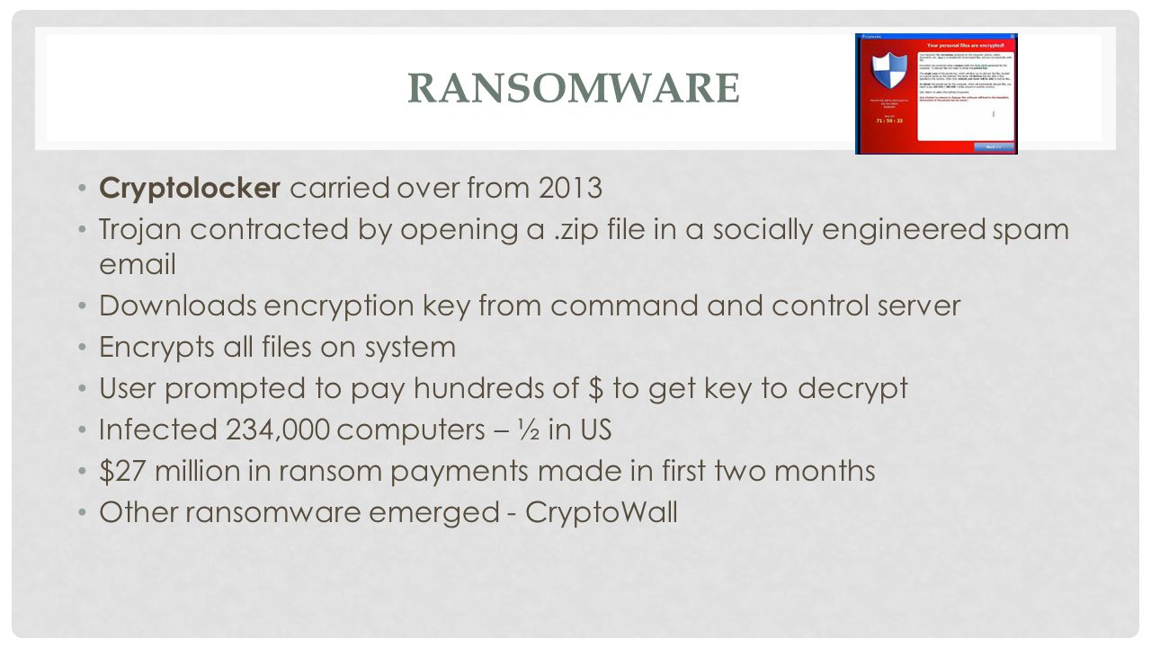 RANSOMWARE Cryptolocker carried over from 2013 Trojan contracted by opening a.zip file in a socially engineered spam email Downloads encryption key from command and control server Encrypts all files on system User prompted to pay hundreds of $ to get key to decrypt Infected 234,000 computers – ½ in US $27 million in ransom payments made in first two months Other ransomware emerged - CryptoWall