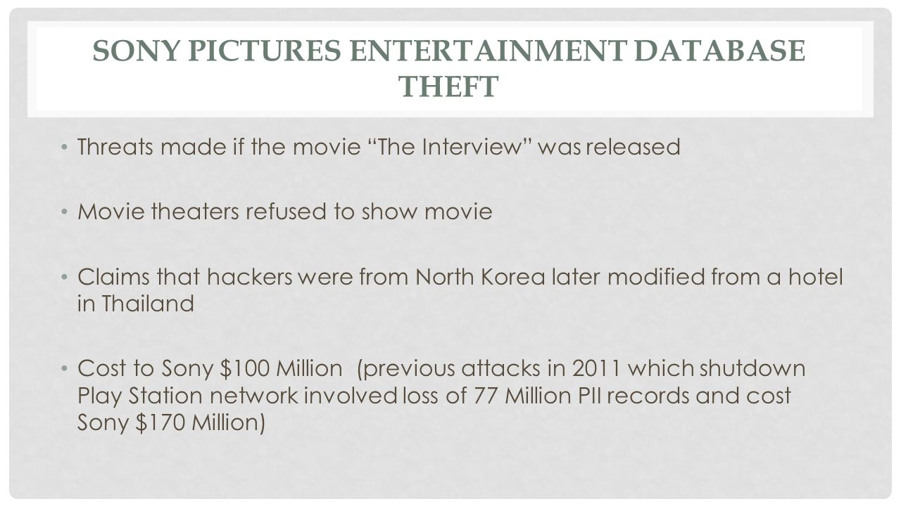SONY PICTURES ENTERTAINMENT DATABASE THEFT Threats made if the movie The Interview was released Movie theaters refused to show movie Claims that hackers were from North Korea later modified from a hotel in Thailand Cost to Sony $100 Million (previous attacks in 2011 which shutdown Play Station network involved loss of 77 Million PII records and cost Sony $170 Million)